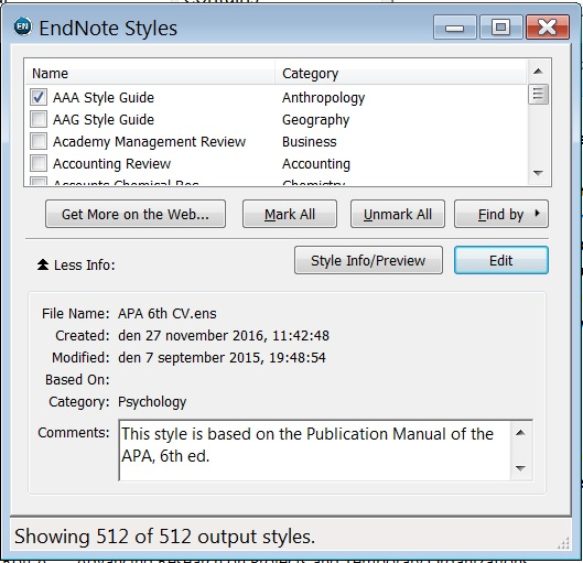 how to add output style to endnote