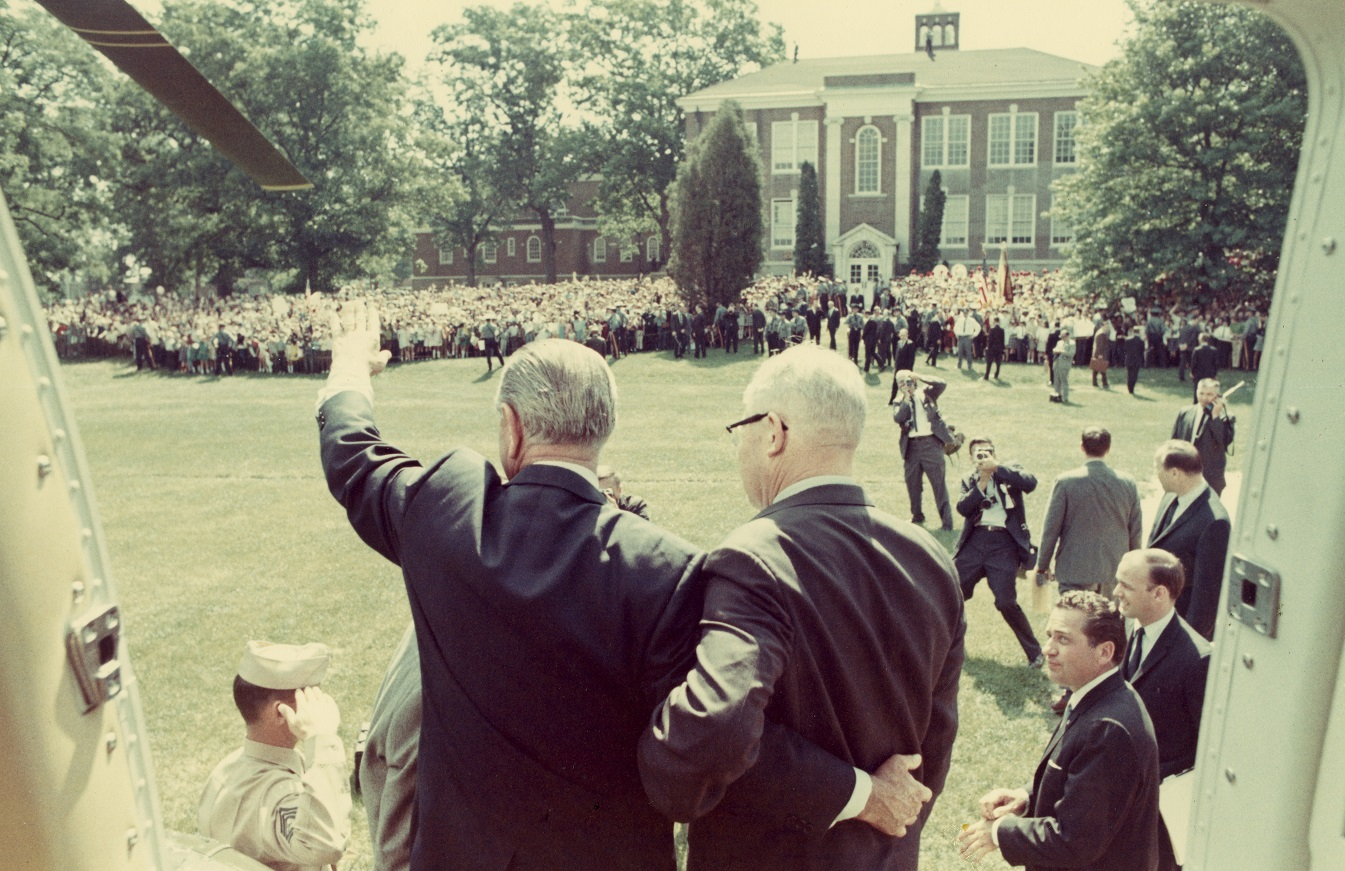 President Robinson and President Johnson greet the crowd at Glassboro State College