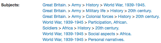 subject headings for colonial history in Africa