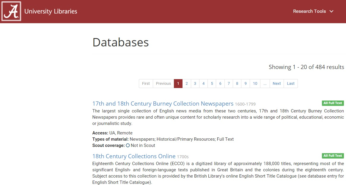 Screenshot of our databases page