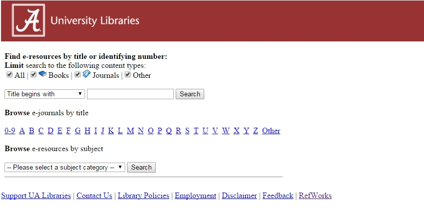 e-resources search interface