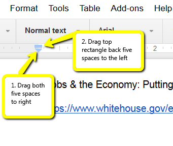 Screen shot of Google Doc showing steps 1-2 described above.