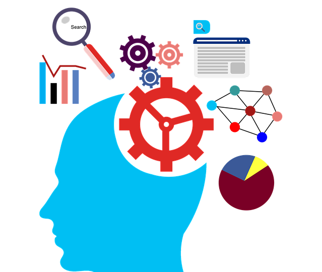 A clip art with a human brain surrounded by a magnifier, books, a pie chart, and other research related pictures.