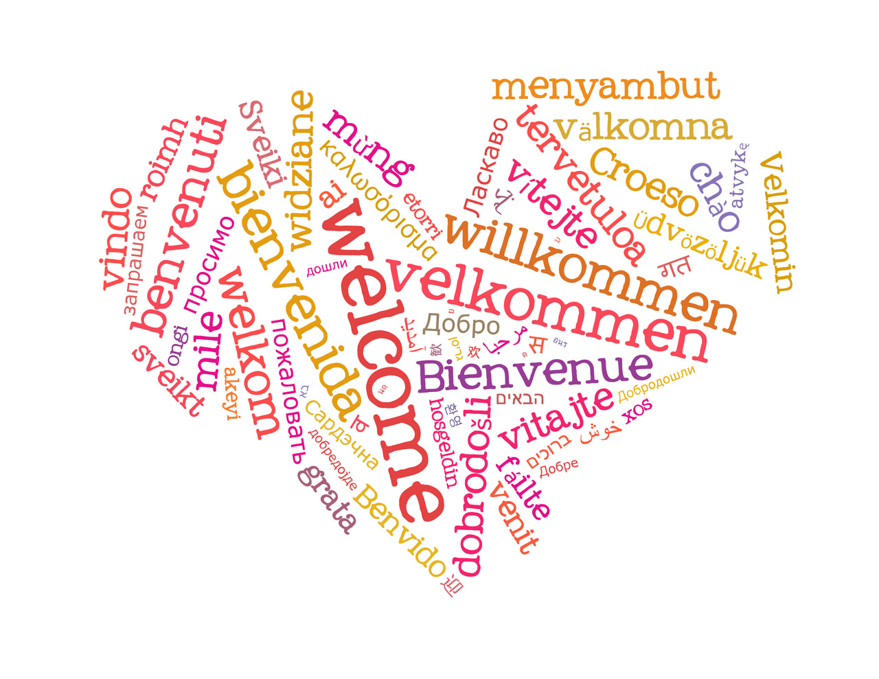 "a heart-shape word cloud with the word ""welcome"" in different languages"