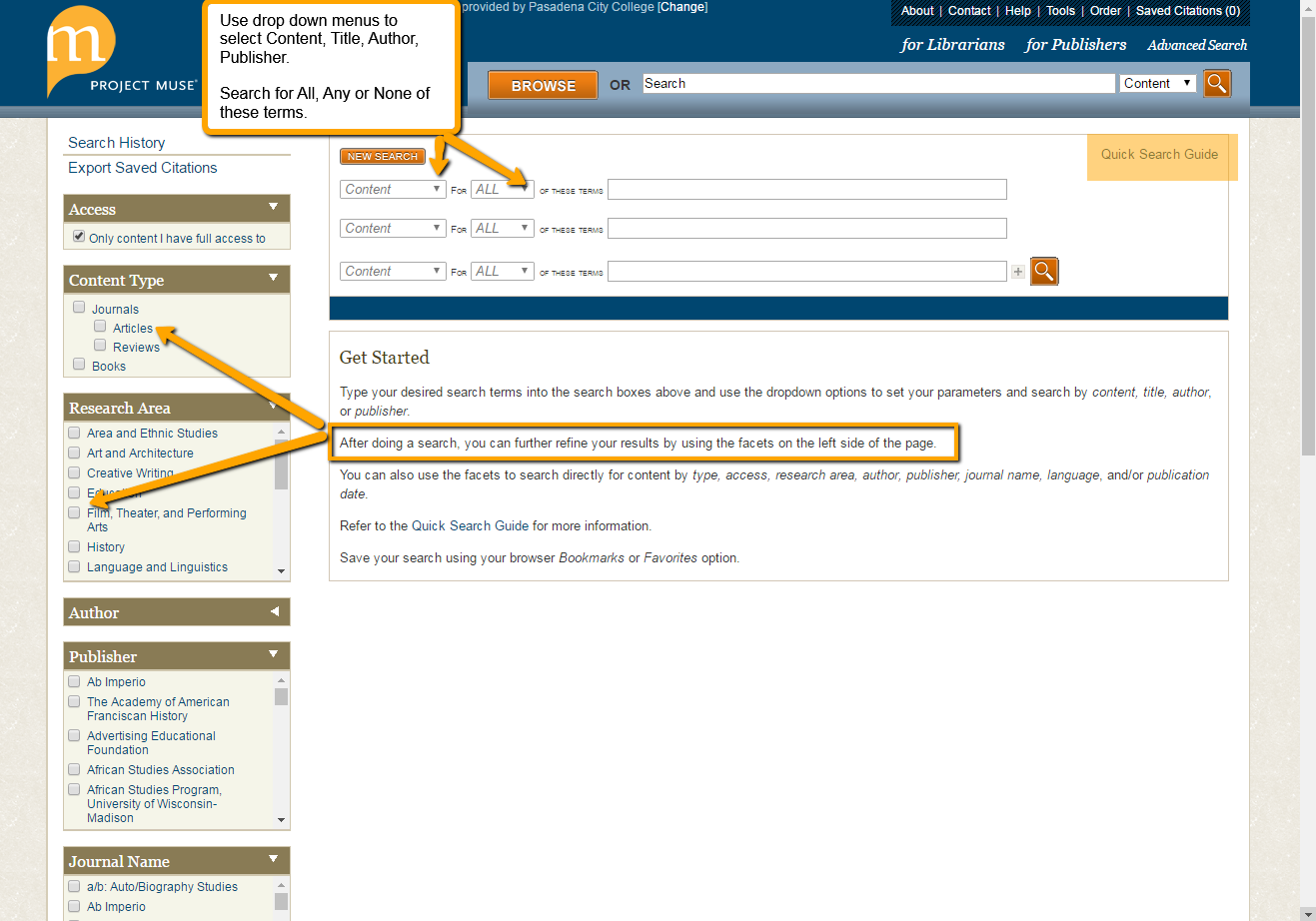 Advanced Search Page & Search Example - Project MUSE Database Guide