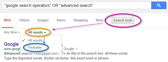 Search tools > All results > Verbatim