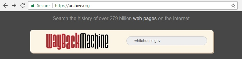 Screen cap of archive.org with whitehouse.gov entered into the search box