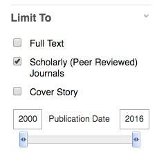 "Image of database ""limit to"" box: Full text, (checked) Scholarly (peer reviewed) Journals, Cover Story, and Publication Date slider"
