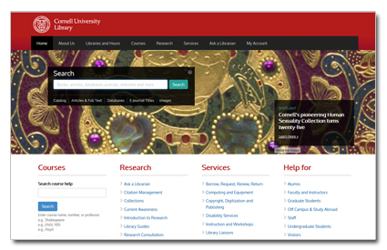 Image: screenshot of Cornell University Library homepage