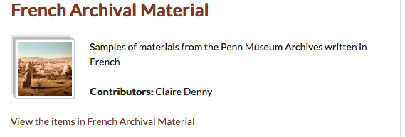 Screenshot of Penn Museum foreign language toolkit in Omeka. Image features French archival material