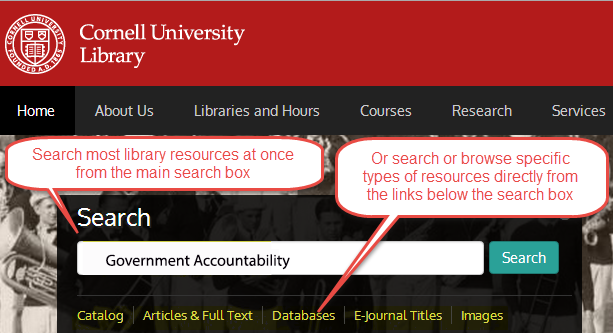 Search Library Resources from the Cornell University Library home page. Use the main search box or the Catalog, Articles & Full Text, Databases, E journal Titles, and Images links directly below the search box.