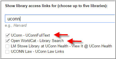 google scholar links for uconn libraries