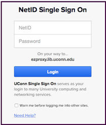 UConn NetID Single Sign On  Screen
