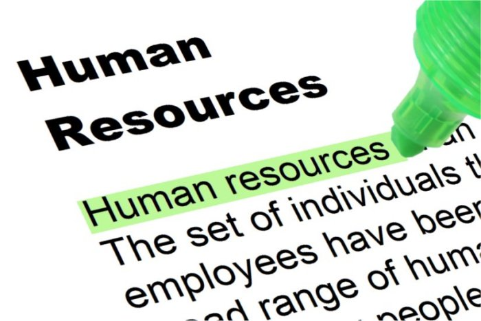 human resources highlighted in green. Definition cropped by edges of image