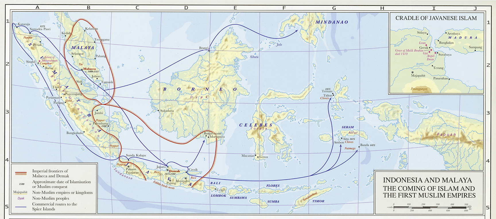 Islam in southeast asia exhibition islam in asia diversity in indonesia and malaya the coming of islam and the first muslim empires map 16100000 in hugh kennedy ed an historical atlas of islam gumiabroncs Gallery