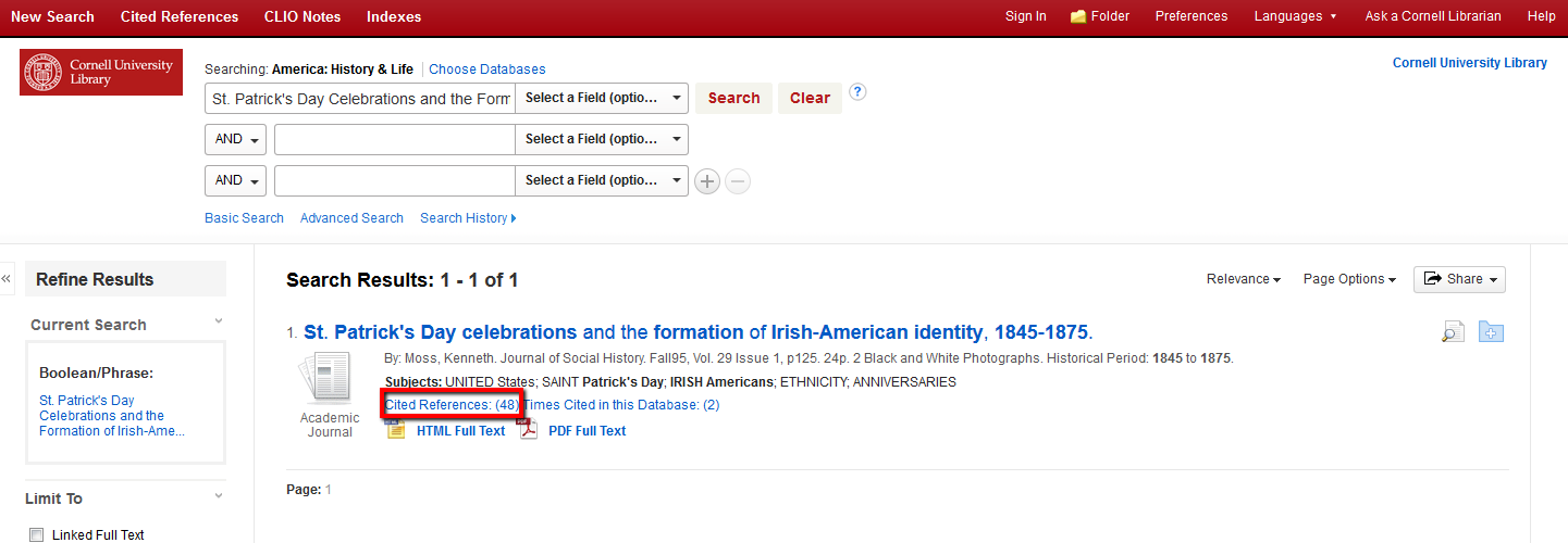 Google Scholar - Cited Reference Searching: A Skill Guide