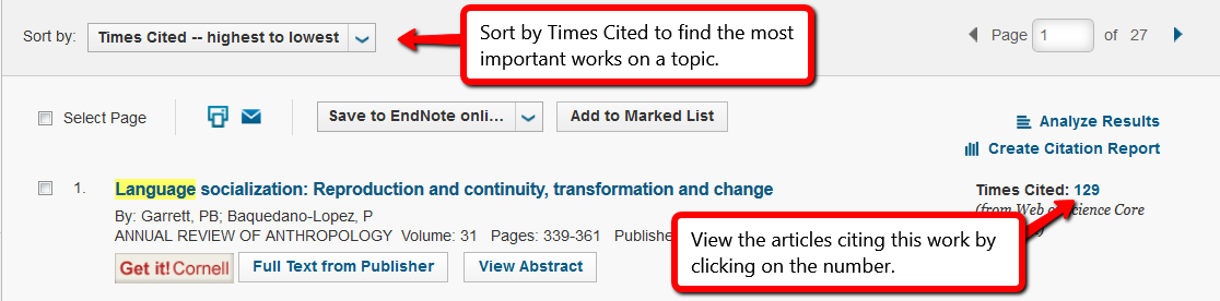 screenshot of a Web of Science search, which shows the drop down menu where you can sort by Times Cited, and the hyperlinked number that shows Times Cited