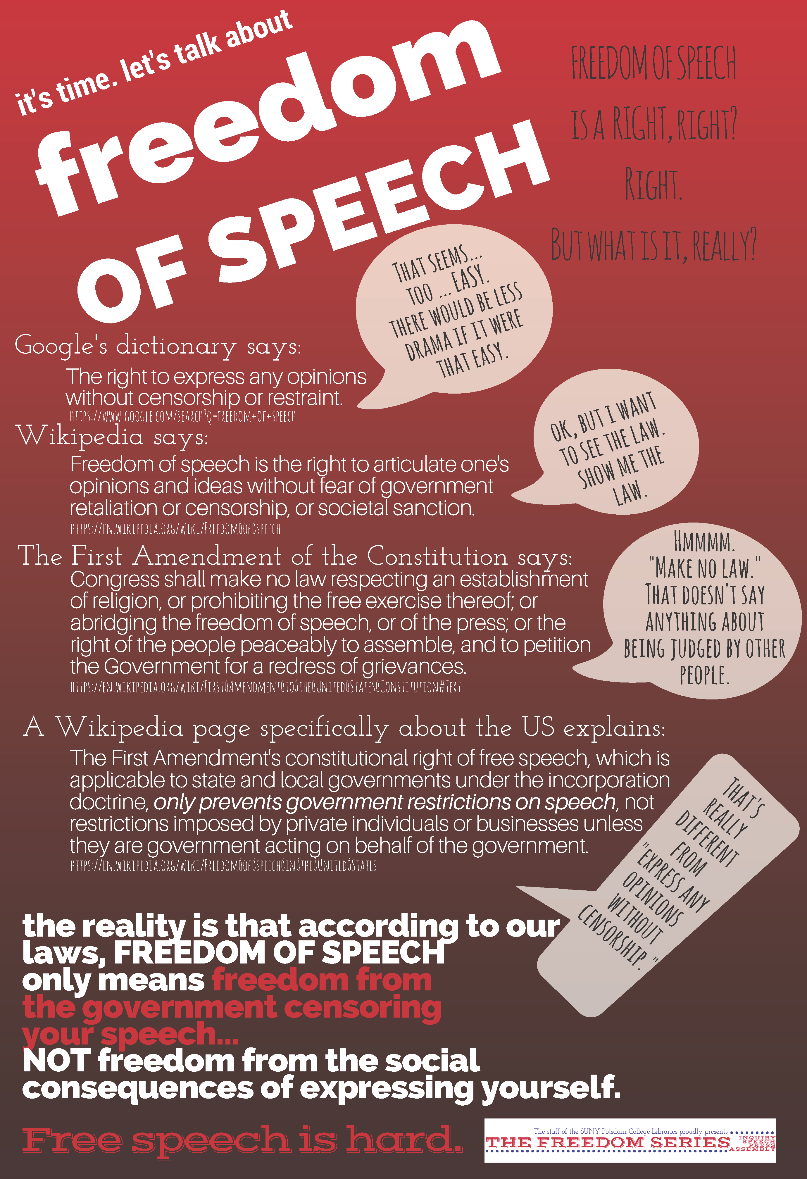 Freedom of Speech: What it is and what it isn't - April 3 - The Freedom Series - College
