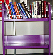 A cart of display books