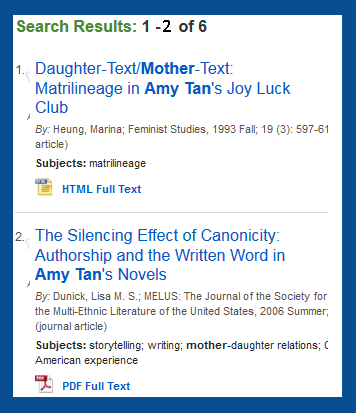 references about women in the works of Amy Tan in MLA Bibliography