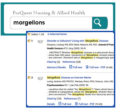 ProQuest search box and results.