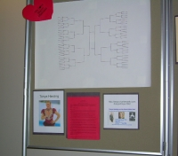 left side display panel including March Madness bracket