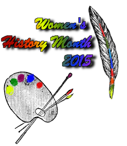 Women's History Month 2015 with rainbow palette and quill pen