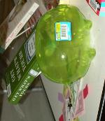 Green plastic piggy bank