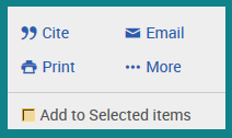 Assorted printing and saving icons in ProQuest