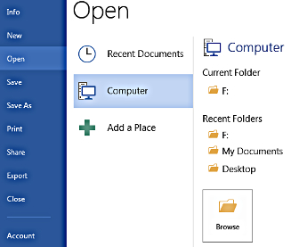 Here is where you open files in Word 2013.