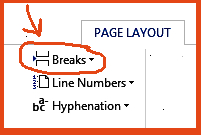 Choose Breaks under Page Layout