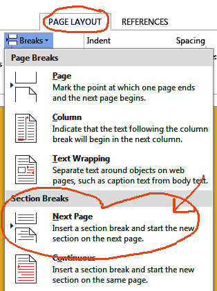 Select a Next Page Section Break