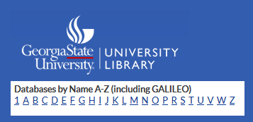 Finding GALILEO databases from the GSU Libraries page