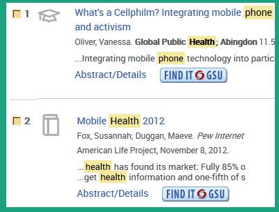 Two different types of links to resources that PAIS offers. Notice the icons on the left