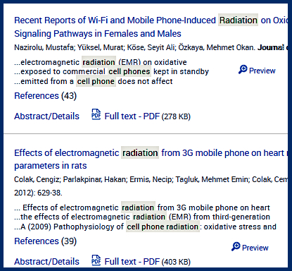 Part of an article list in one of the Proquest science databases