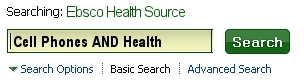 The Health Source basic search screen