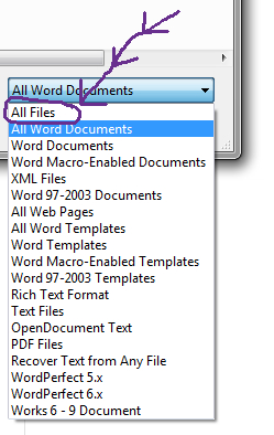 Choose All Files for Wordperfect and other documents