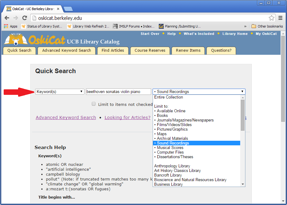 1  Quick Search - How to Search for Music in OskiCat