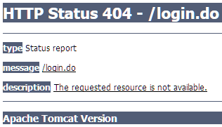screenshot showwing HTTP Status 404 - /login.do error message