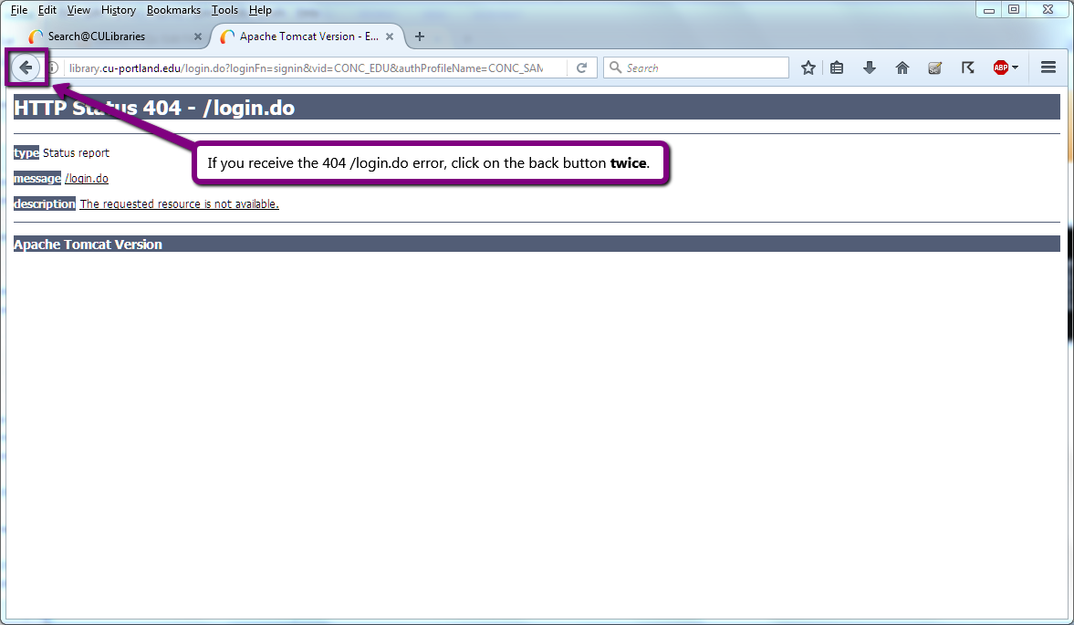 screenshot of HTTP Status 404 login.do error