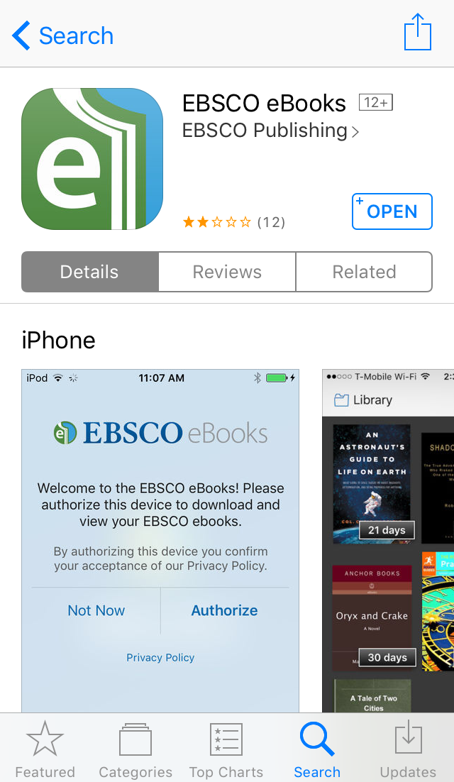 screenshot of EBSCO eBooks Mobile App in the App Store