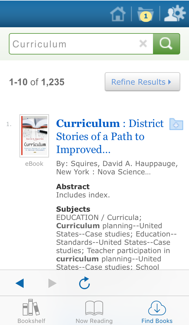 screenshot of EBSCO eBooks Mobile App search results page