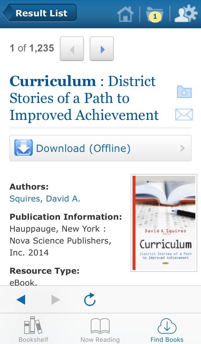 screenshot of EBSCO eBooks Mobile App book record page
