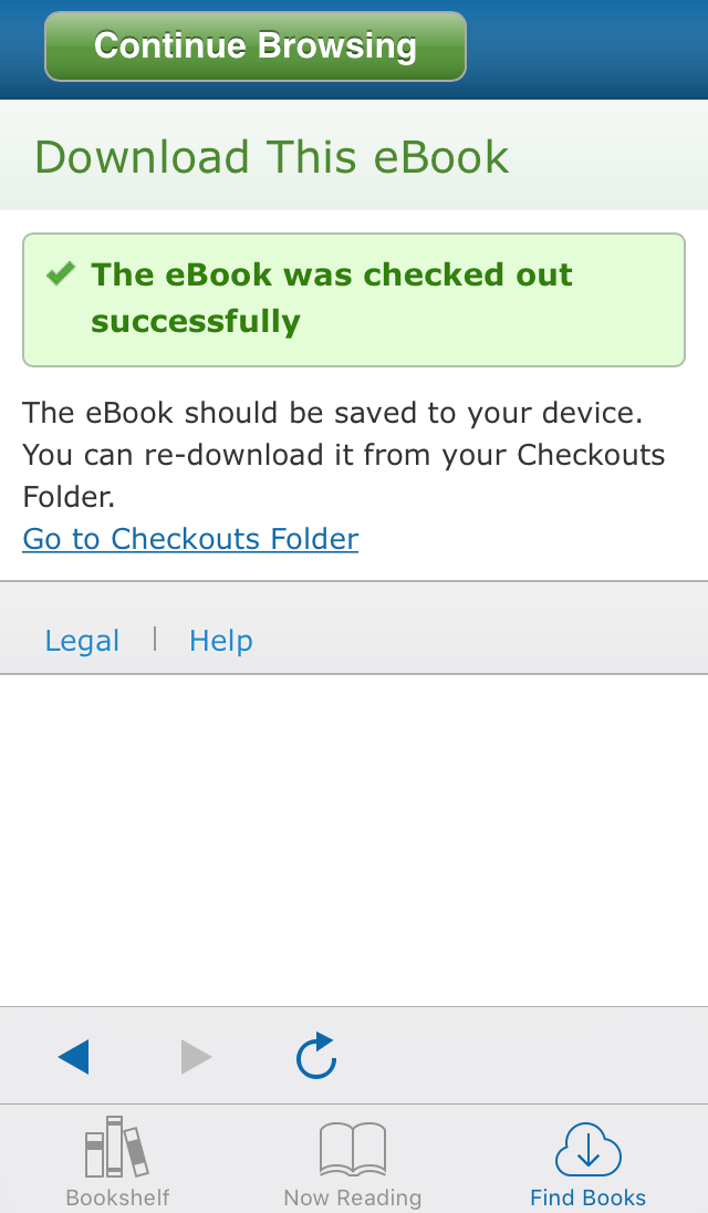 screenshot of EBSCO eBooks Mobile App download confirmation