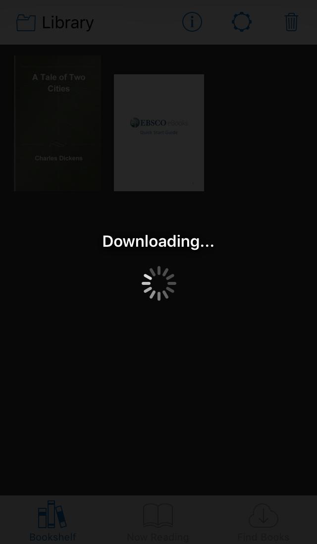 screenshot of EBSCO eBooks Mobile App download progression screen