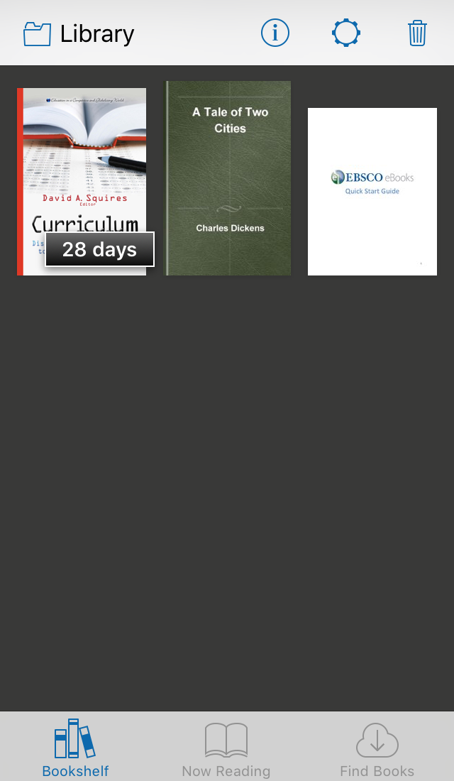 screenshot of EBSCO eBooks Mobile App Library page showing downloaded book with days remaining on loan