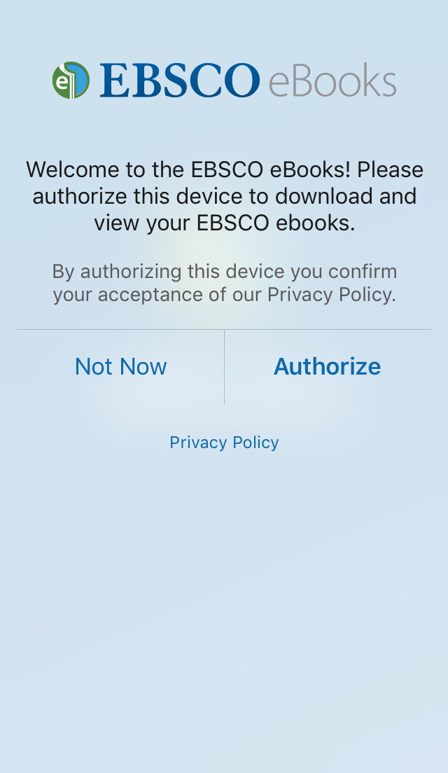 screenshot of EBSCO eBooks Mobile App authorization screen