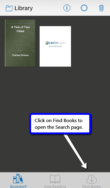 screenshot of EBSCO eBooks Mobile App Library page
