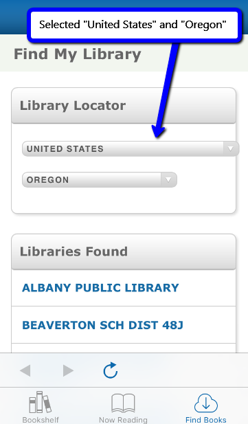screenshot of EBSCO eBooks Mobile App Find My Library page