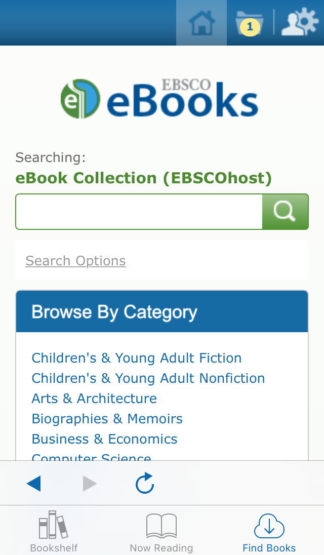screenshot of EBSCO eBooks Mobile App Search page